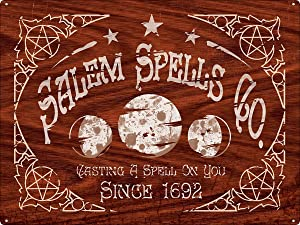 """HomDeo Metal Vintage Signs Home of Witchcraft, Salem Spells Co. Tin Sign Wine Cellar Garage Vintage Style 12""""x16"""" Unique Wall Decor"""