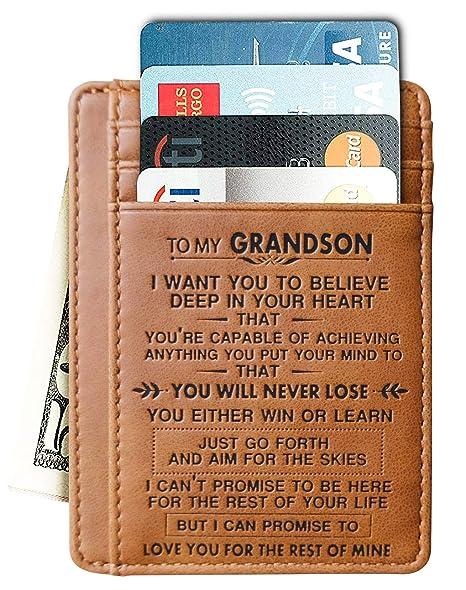 Engraved Leather Front Pocket Wallet Gift For Son Husband Grandson