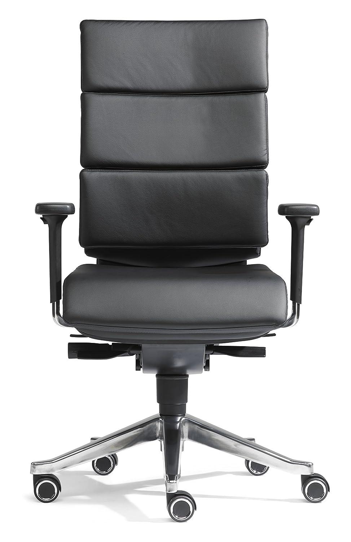SITWELL GERNOT STEIFENSAND Design-Bürostuhl Dream-Office mit Armlehnen, Synchron-Mechanik, Alu-Fußkreuz, hochwertiges Rindsleder, schwarz