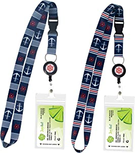 2-Pack Cruise Lanyard with Retractable Badge Reel, Water Resistant Badge Holder, and Snap Buckle, Nautical Set