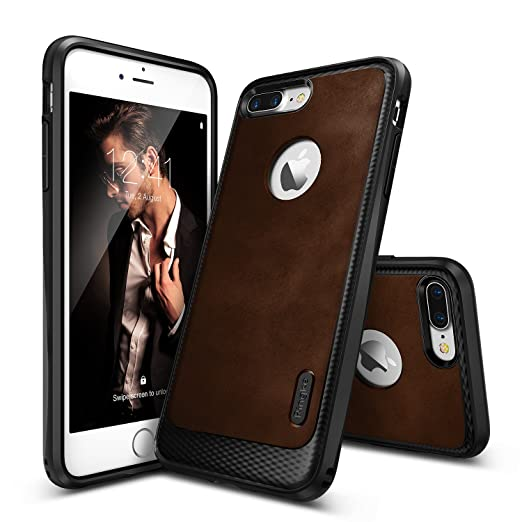 10 opinioni per Cover iPhone 7 Plus, Ringke [Flex S Series] Coated Strutturato Stile di Cuoio