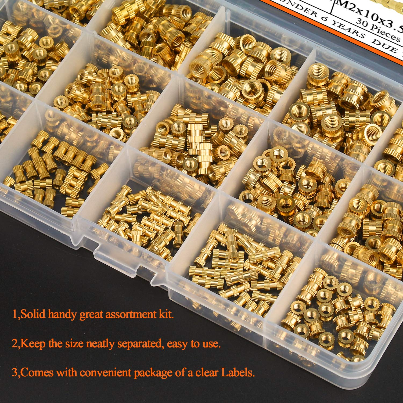 Canitu 420Pcs Female Thread Knurled Nuts Brass Threaded Insert Embedment Nuts M2 M3 M4 M5 Assortment Kit