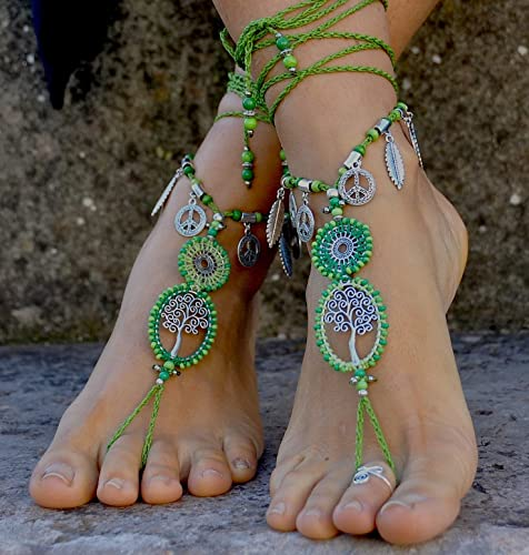 01ab93fe2 Amazon.com  Barefoot Sandals Tree of Life Green-Hippie Crochet Foot jewelry- Barefoot Wedding Sandals  Handmade