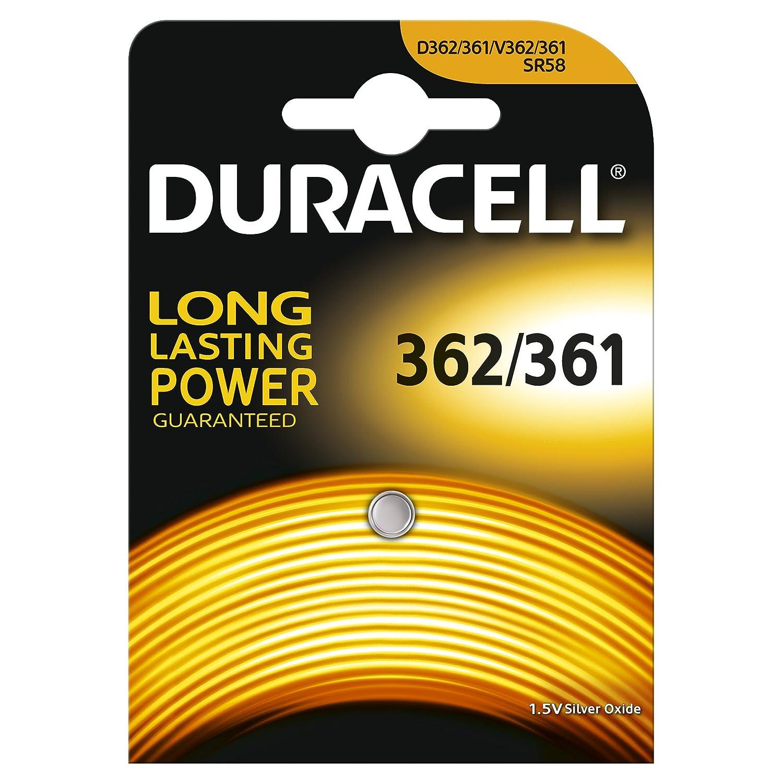 1x Duracell 362/361 1.5V Silver Oxide watch battery SR58 SR721W V361 V362 SR721