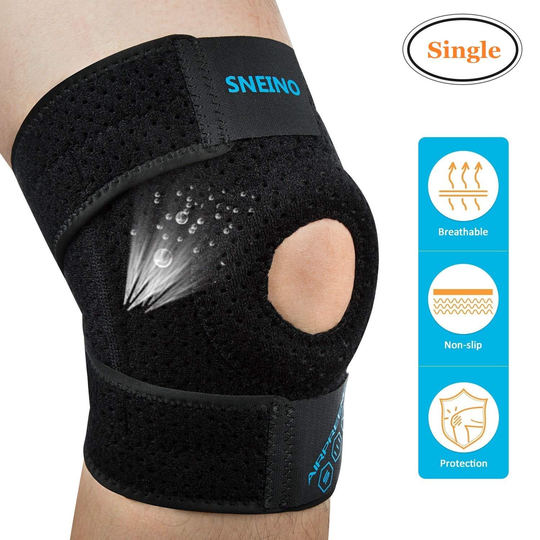 Knee Brace Knee Support SNEINO Knee Brace for Meniscus Tear Breathable Non-Slip Neoprene Knee Brace Adjustable Open Patella Knee Brace Support Knee Braces for Women Men Running Knee Support Brace
