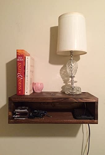 Floating Bedside Table, Rustic Nightstand, Barn Wood Style Bedside Table,  Wall Shelf, Part 38