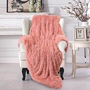 Vasofe Warm Shaggy Sherpa Blankets Fluffy Soft Fuzzy Faux Fur Throw Blanket for Xmas Couch Sofa Photo Home Decor Dirty Pink Bed Throw Size