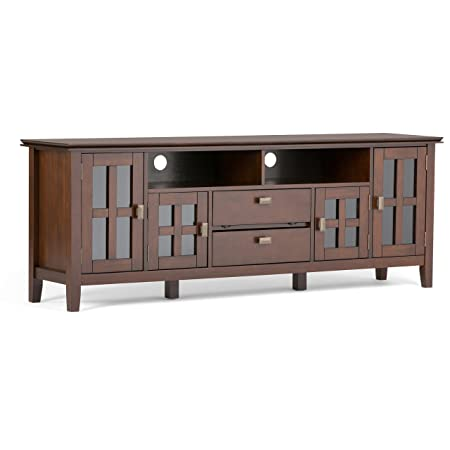 Simpli Home AXCHOL005-72 Artisan Solid Wood 72 inch wide Contemporary TV media Stand in Medium Auburn Brown For TVs up to 80 inches
