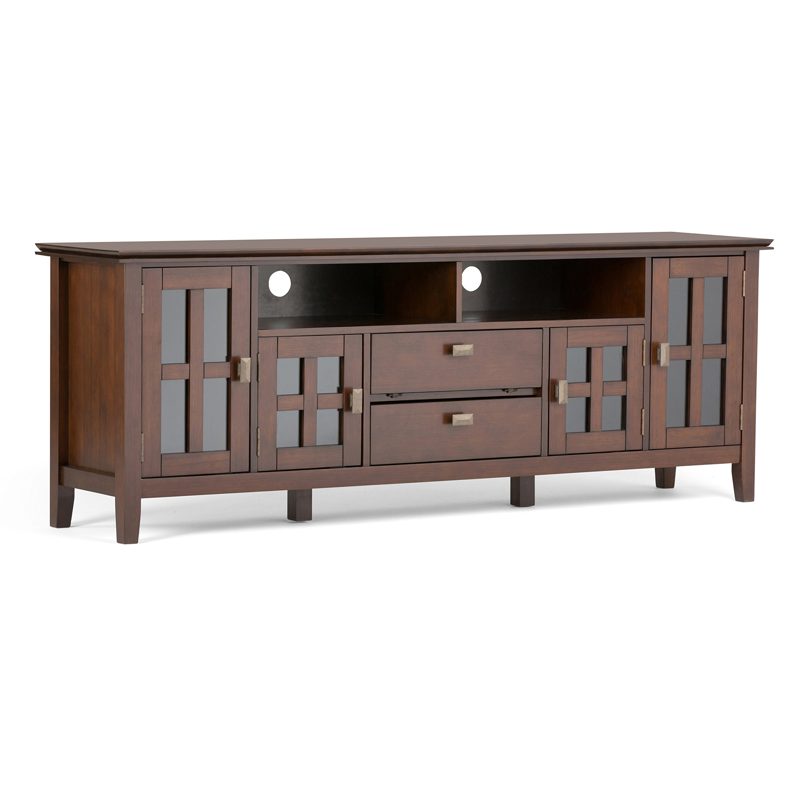 Simpli Home Artisan Solid Wood Wide TV Media Stand for TVs up to 80'', Medium Auburn Brown