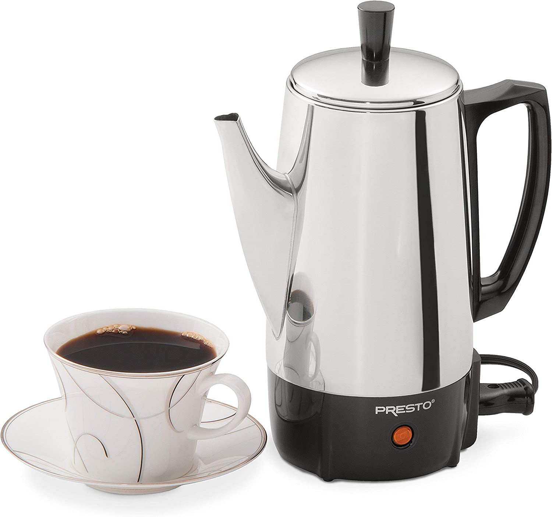 Amazon.com: Cafetera eléctrica de acero inoxidable Presto de ...