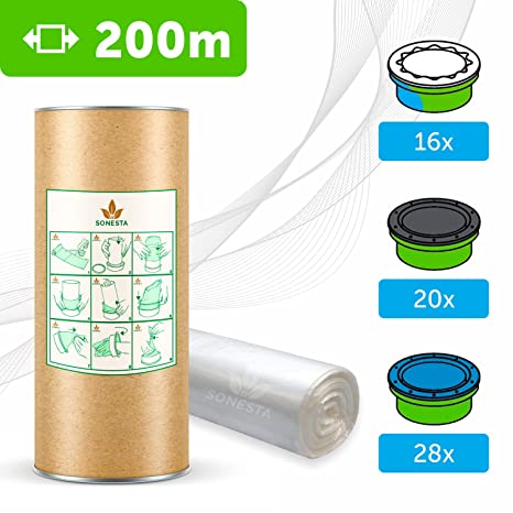 200 M - ECO Recarga compatible Sangenic Tommee Tippee | Angelcare para pañales | equivalente 16 cajitas Sangenic | 28 Angelcare | Producido en Europa ...