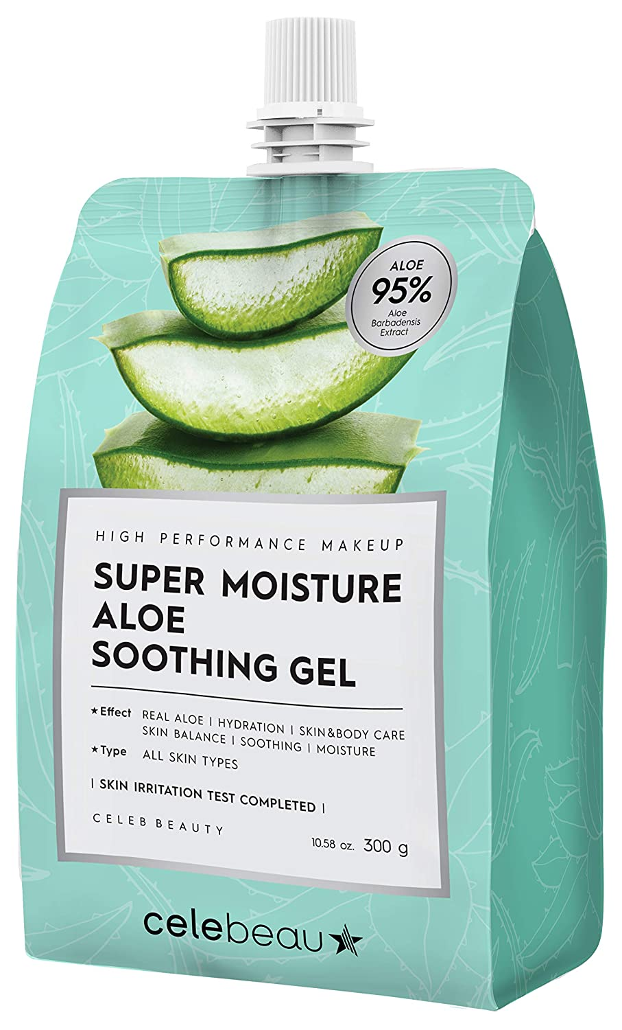 CELEBEAU - Super Moisture Aloe Soothing Gel - 95% Aloe Extract - Maximum Soothing & Hydration for All Sensitive Skin Types - Excellent After Sun Care Relief - 300g : Beauty