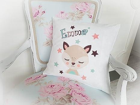 Kissen für Kinder Mädchen Fuchs mit Wunsch-Namen