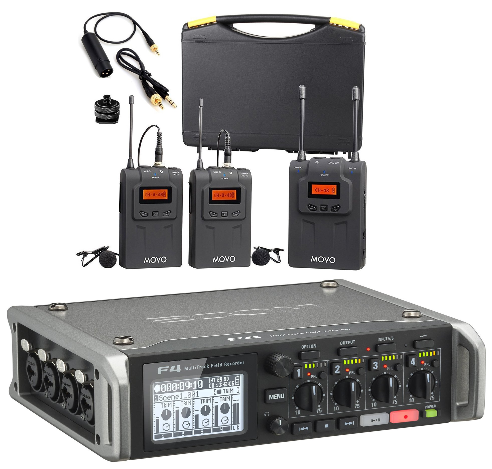Zoom F4 Multitrack Field Recorder Bundle with Movo UHF Dual Wireless Lavalier Microphone System for 2 Speakers