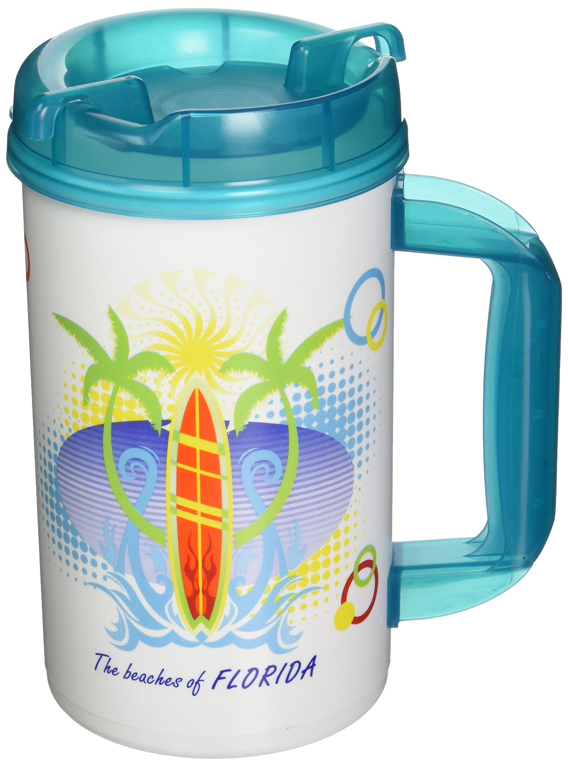 GameDay Novelty the Beaches of Florida Insulated Travel Mug with Lid, 32 oz.