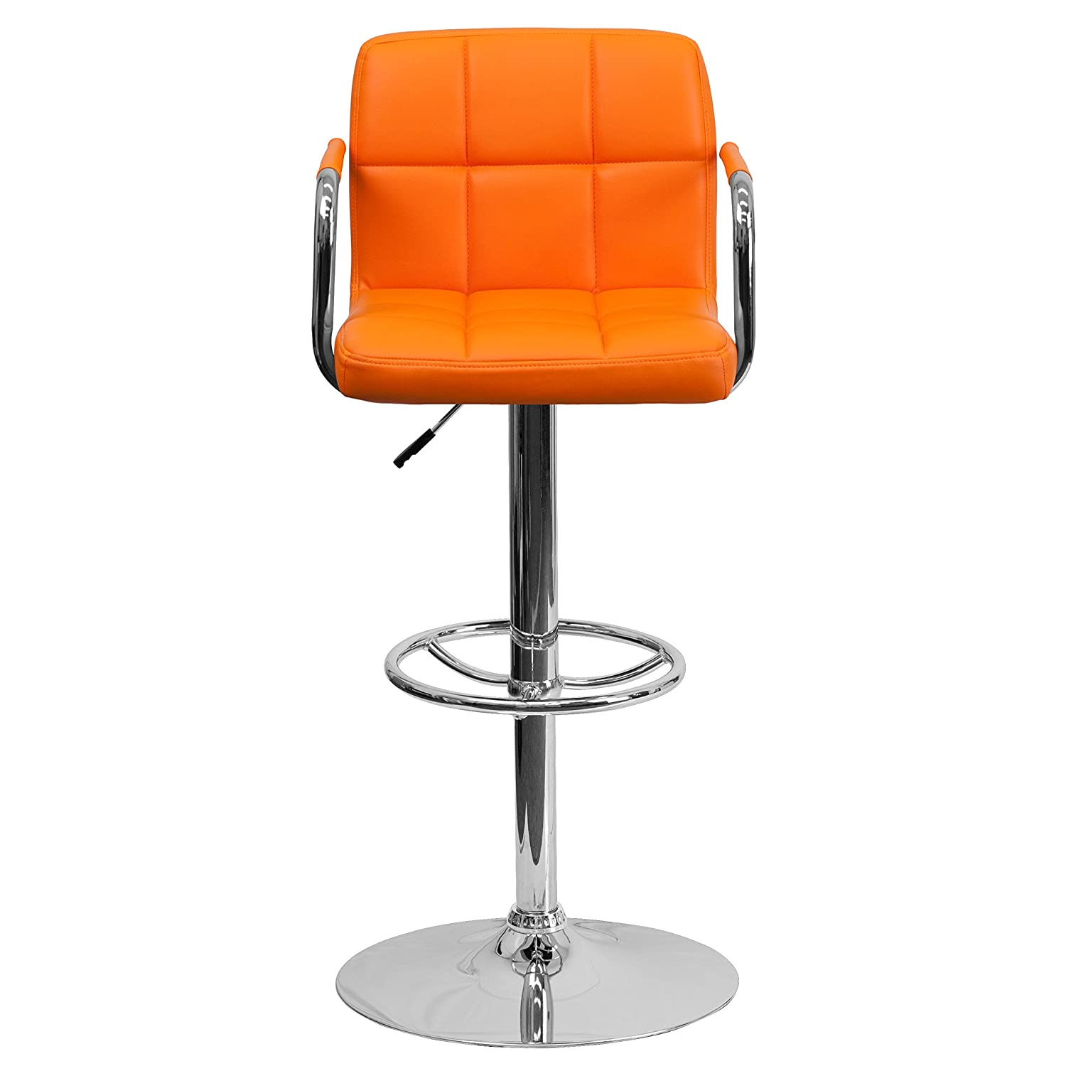 Amazon.com: Flash Furniture Contemporary Orange Quilted Vinyl Adjustable  Height Barstool With Arms And Chrome Base: Kitchen U0026 Dining