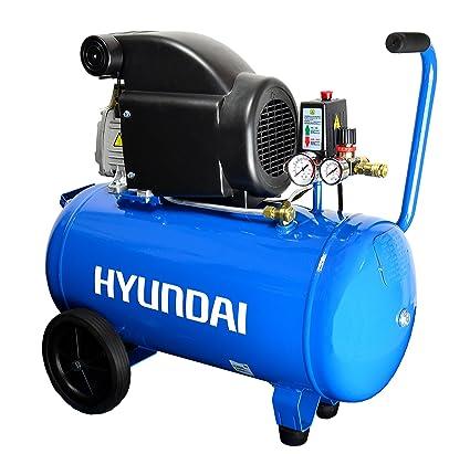 HYUNDAI AC5001E Compresor de aire con depósito de presión de 50 litros, lubricado por aceite