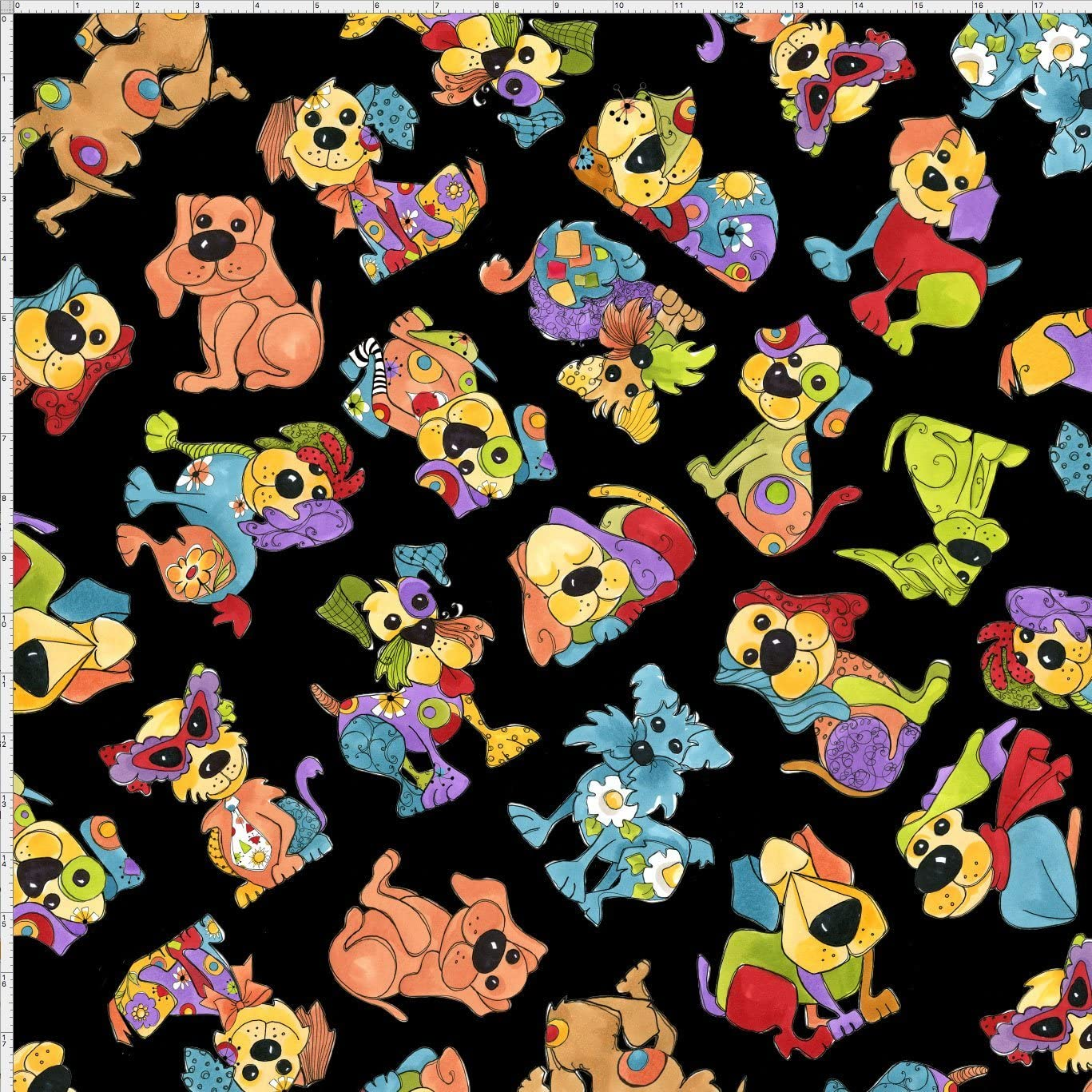 Loralie Designs Tossed Happy Dogs Fabric Cotton Wht Background Sold By The Yard