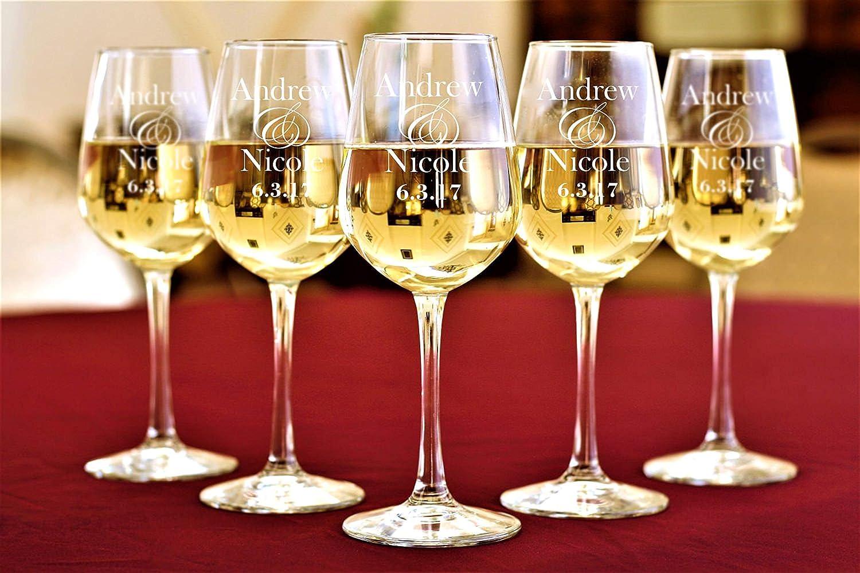 Copas de vino personalizadas para bodas, fiestas, bodas, damas de honor, regalos, copas de vino grabadas personalizadas: Amazon.es: Hogar