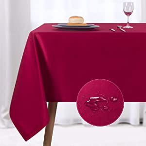 NLMUVW Rectangle Table Cloth, Waterproof Oblong Tablecloth, Microfiber Fabric 210 GSM Table Cover for Party Picnic Outdoor and Indoor Use (60 x 84 Inch, Red)