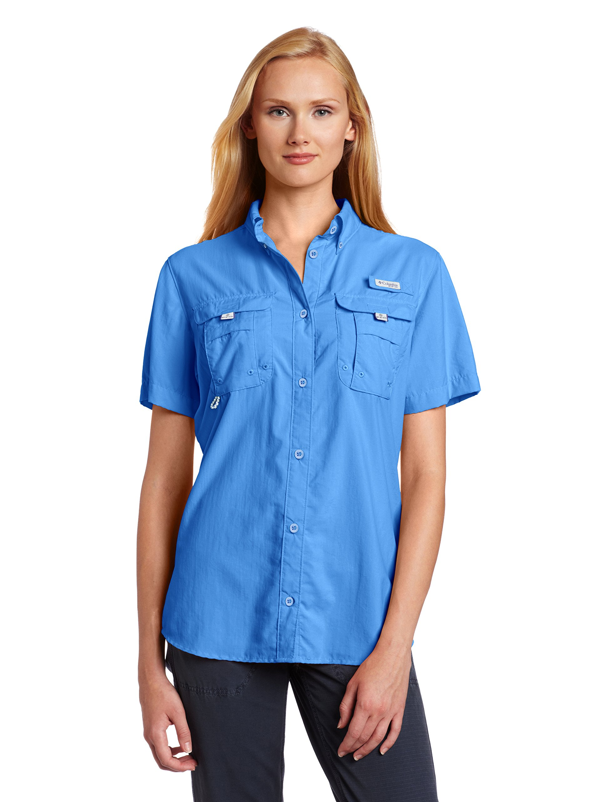 Columbia Women's PFG Bahama Short Sleeve Shirt , Harbor Blue, X-Small by Columbia