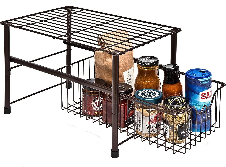 Amtido Organizador apilable para debajo del fregadero con caj/ón deslizante para cocina y ba/ño marr/ón