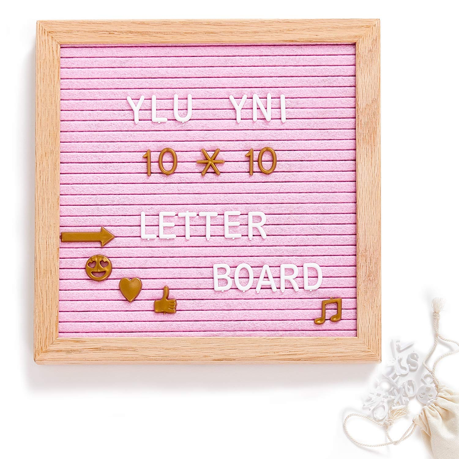 Ylu Yni Pink Letter Board 10x10'' Quote Board with Letters, Felt Letter Board with 346 Plastic Letters(White+ Gold)