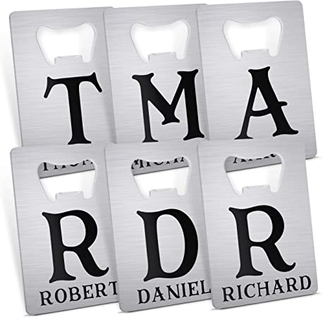 Set of 6, Personalized Groomsmen and Bridesmaid Bottle Openers – Groomsmen and Bridesmaid Gifts – Stainless Steel Card Bottle Opener – Gifts for Wedding, Bachelor Party, Bridal Shower, Best Man – 6