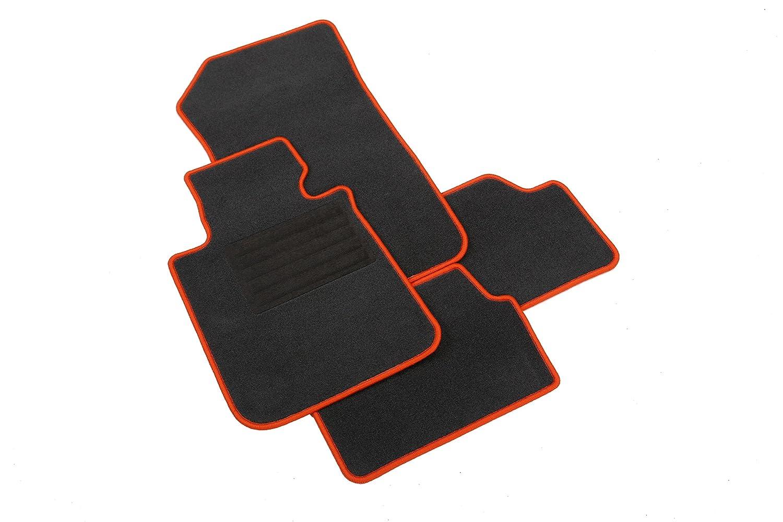 intermats Renegade Auto felpudos Velour '70grafito, Naranja gekettelt (Distancia entre orificios Pasajero Matte 18,2cm)