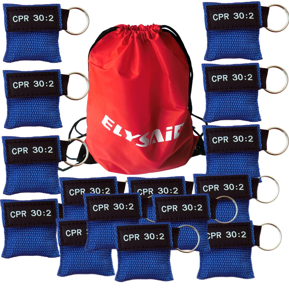 Elysaid 100Pcs/Pack CPR MASK WITH KEYCHAIN CPR FACE SHIELD AED BLUE POUCH CPR 30:2 IN BACK BAG