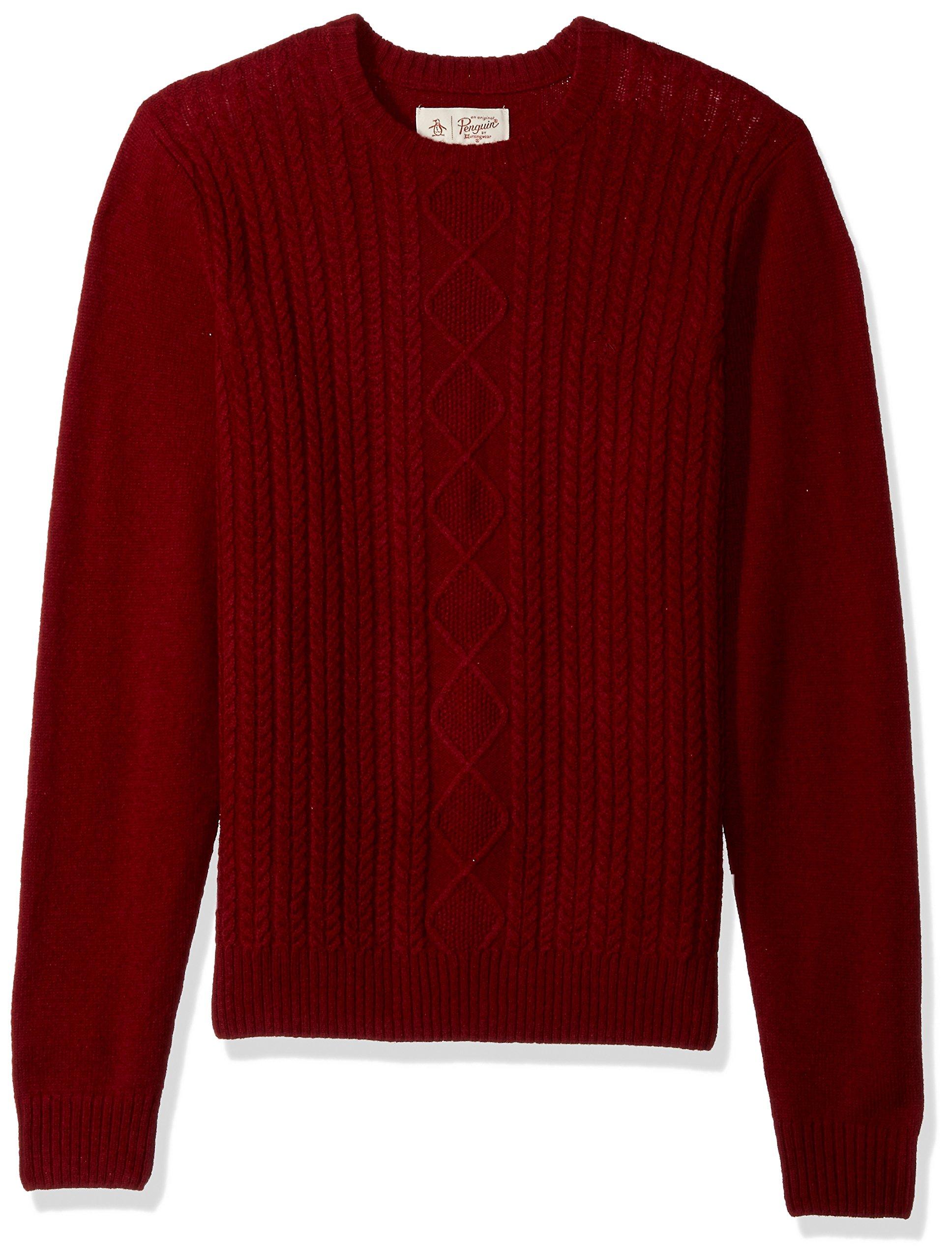 Original Penguin Men's Fisherman's Cable Crew Sweater, Pomegranate, Large