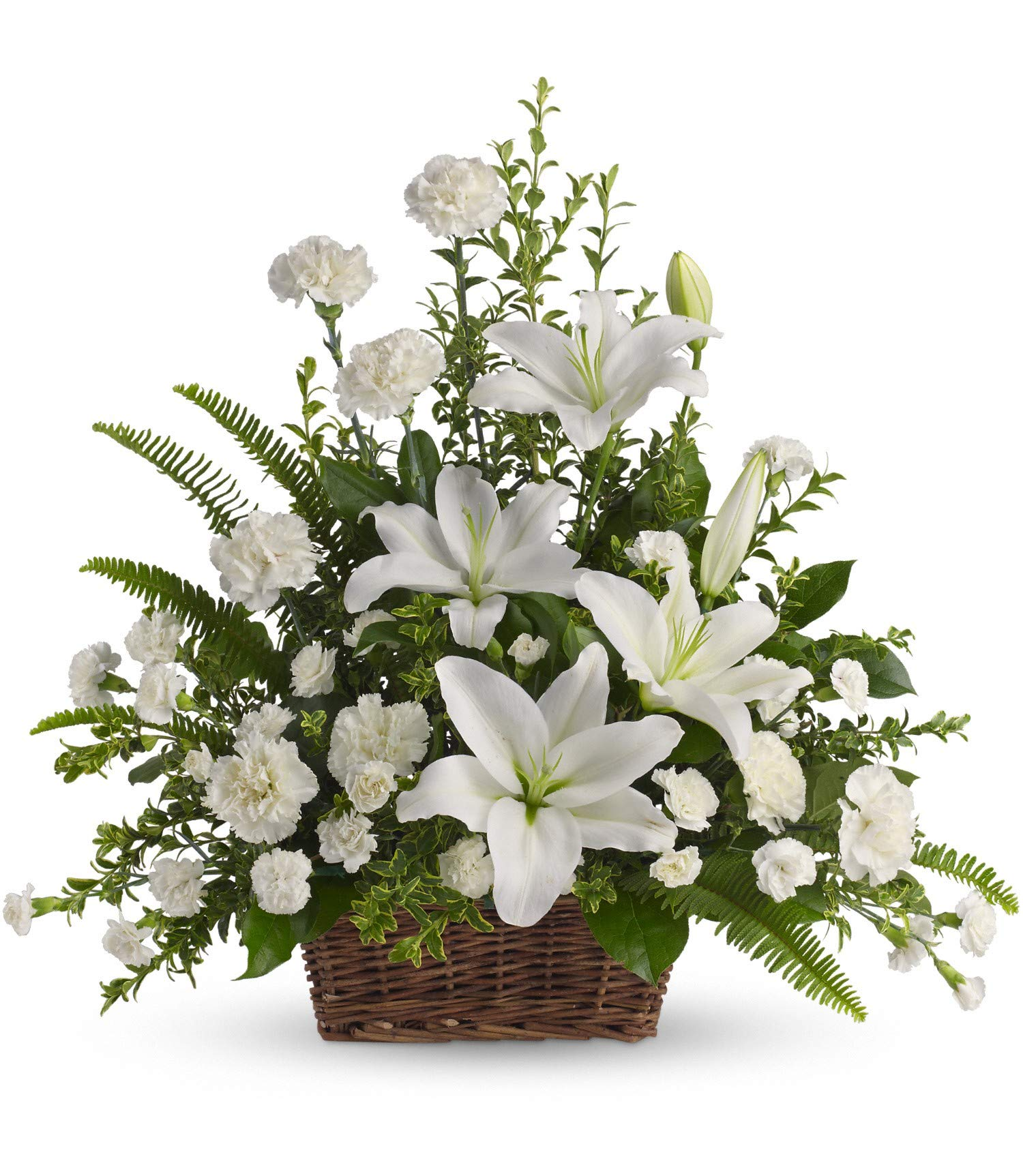 Peaceful White Lilies Basket - Fresh Flowers Hand Delivered - Columbus Area