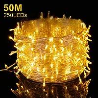 Elegear Guirnalda Luces Navidad 250 LEDs 50m Cadena de luces Impermeable Iluminación Interior o Exterior 8 Modos de Luz…