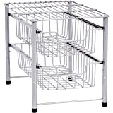 AmazonBasics 2-Tier Sliding Drawers Basket Storage Organizer, Silver