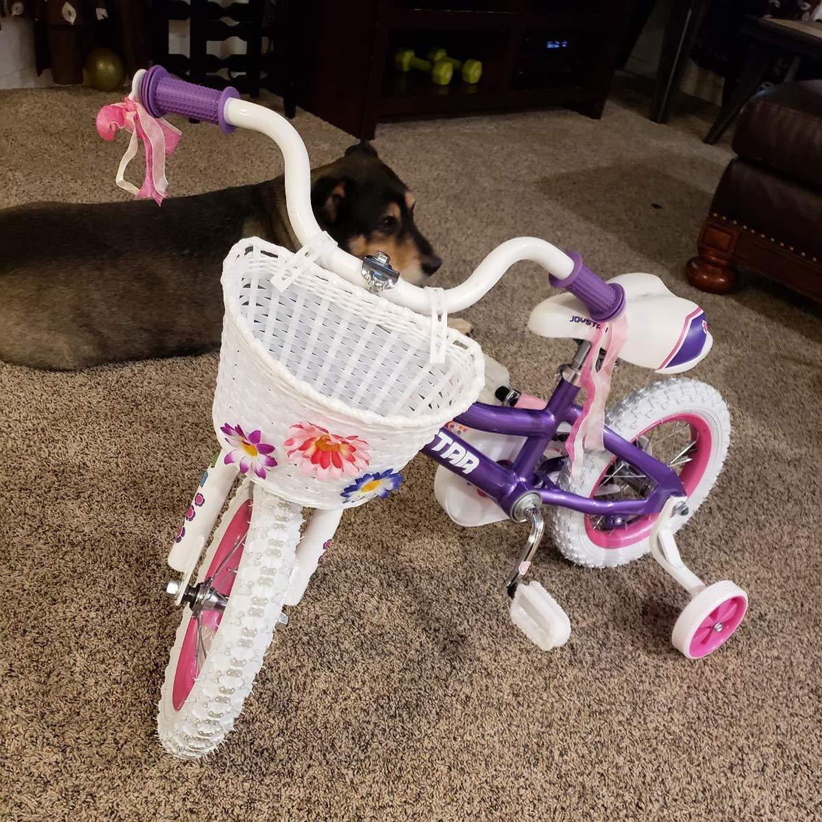 Kids Bicycle Accessories DRBIKE Kids Bike Basket for 12 14 16 18 inch Girls Bike Kids Bicycle Basket with Flower