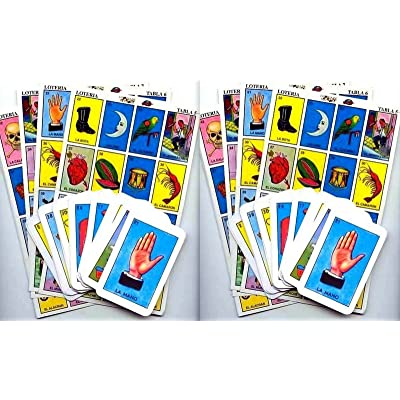 2 X Authentic Mexican Loteria Bingo Chalupa Game: 20 Boards + 2 Deck Of 54 Cards by Handmade: Toys & Games