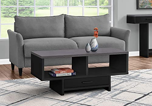 Monarch Specialties Drawer Shelves Rectangular Cocktail Accent Coffee Table, 43 L, Black Grey