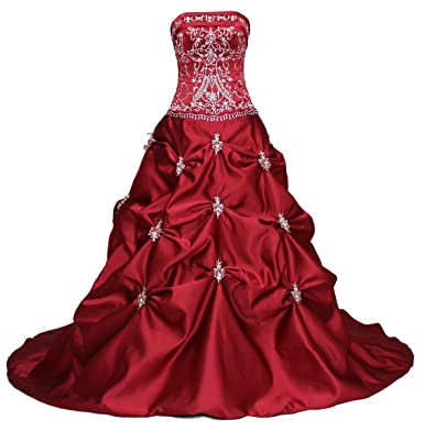 4d90896144 Faironly Red Strapless Bridal Wedding Dress at Amazon Women s ...