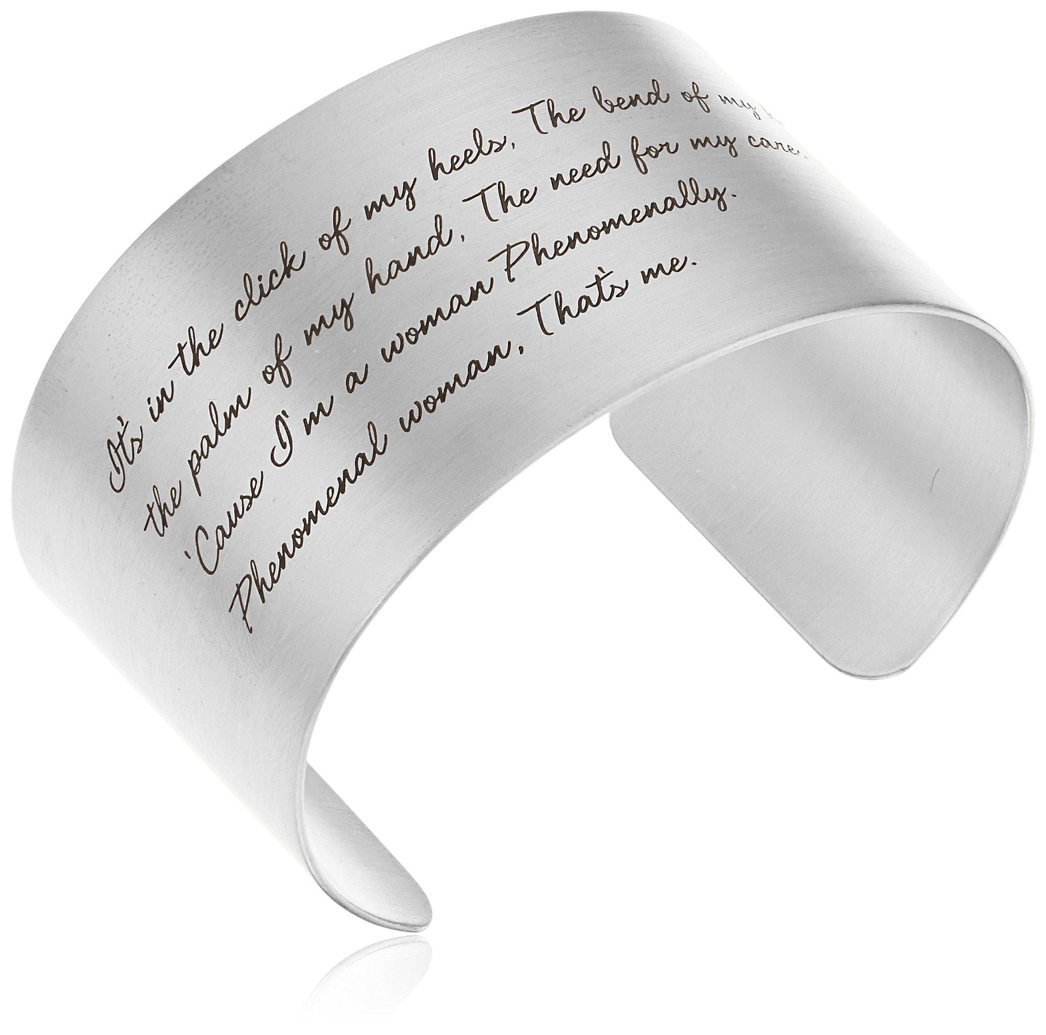 Dogeared ''Maya Angelou'' Phenomenal Woman Large Engraved Sterling Silver Cuff Bracelet