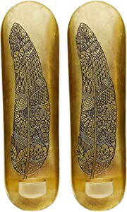 Decozen Wall Art Tea Light Holder with Feather Design Handcrafted by Skilled Artisans Metallic Wall Décor for Living Room Bedroom Guest Room Home Decor Set of 2 4.0 x 3.0 x 13.0 inches