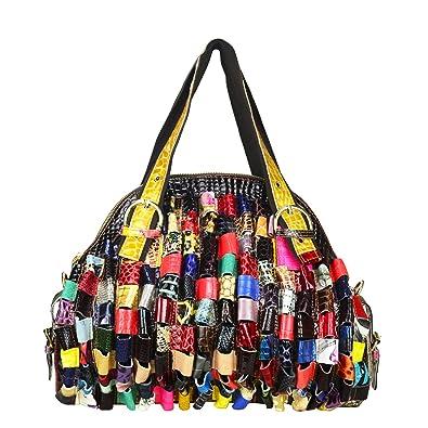 Amazon.com  Sibalasi-Multicolor Woven Bohemian Large Tote Snake Print  Patchwork Colorful Big Bag(Roll)  Shoes 616052730069c