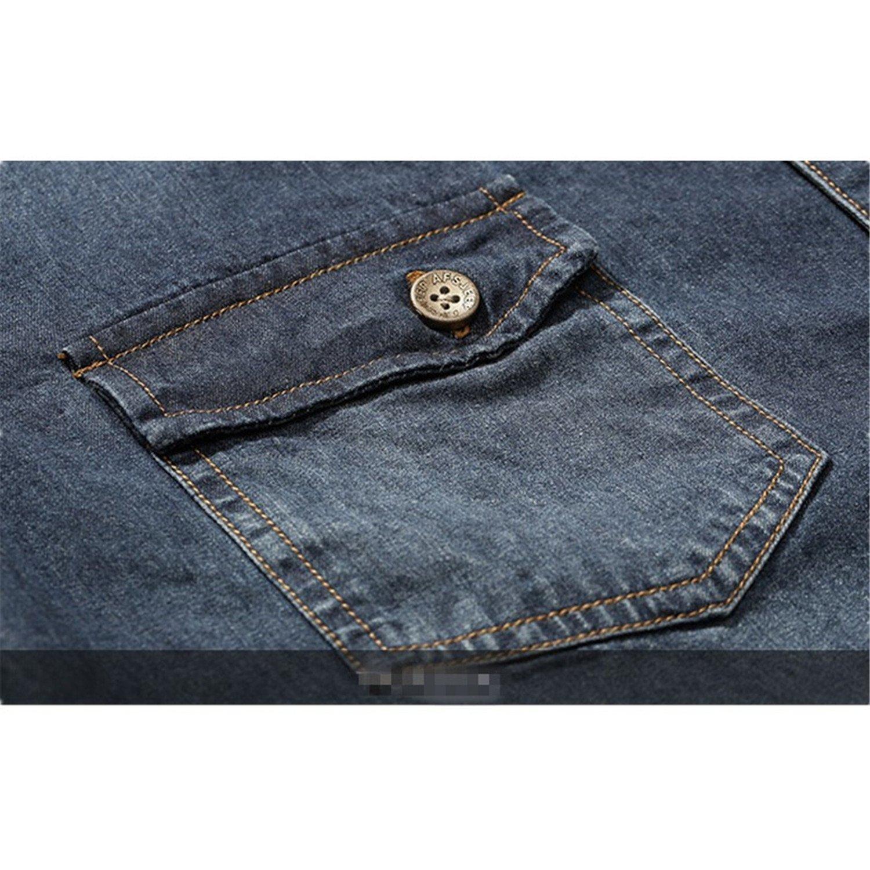 LOKOUO Fashion Social Dark Blue Casual Cotton Shirt Long Sleeve Camisa Jeans Camisas Para Hombre