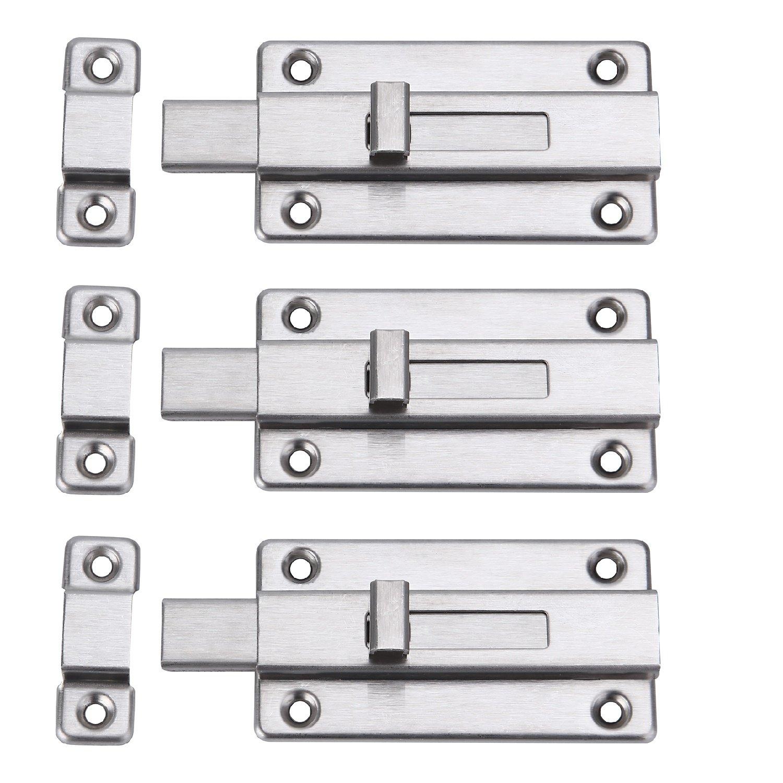 Creatyi 4.13'' Stainless Steel Thickened Door Latch Sliding Lock Barrel Bolt (3 PCS)