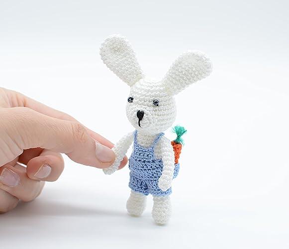 Baby Boy Bunny Toy Blue Jeans Con Coniglietto Con Carota Uncinetto