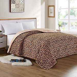 softan Faux Fur Bed Blanket in Leopard Print, Reversible Soft Fluffy Minky Fleece Throw Blanket, Machine Washable, Brown, 90