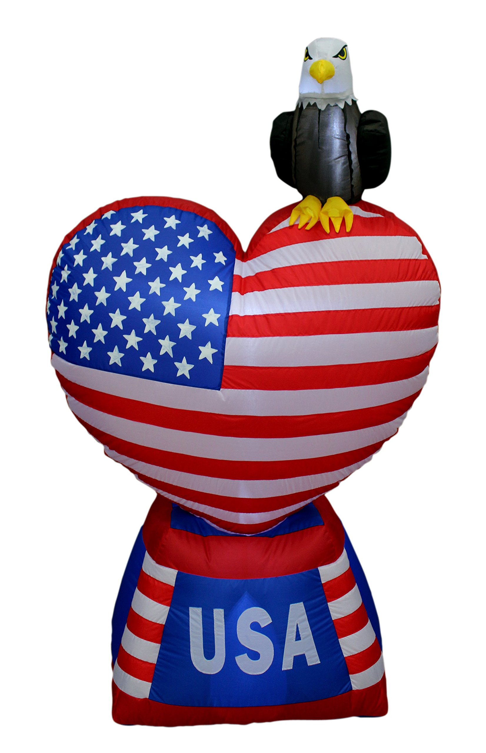 BZB Goods 5 Foot Tall Lighted Patriotic Independence Day 4th of July Inflatable Love Heart with American Flag and Bald Eagle Indoor Outdoor Decoration