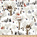 Dear Stella Nocturnal Dreams Flannel Treetop Party Multi Fabric By The Yard