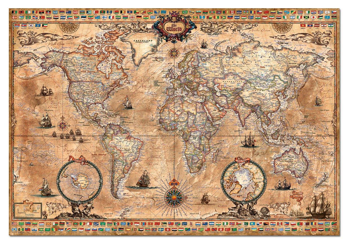 Amazon antique world map 1000 piece puzzle varios toys games gumiabroncs Gallery