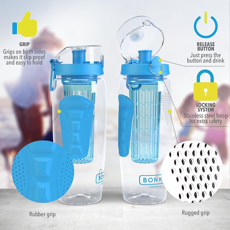 Bonké Botella de Agua Fruit Infuser - E-book gratuito Infusiones en Agua y cepillo de limpieza - 3 en 1 - Grande 1 litro - Libre de BPA. Elaborado plástico ...