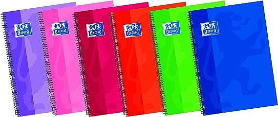 Oxford - Cuaderno espiral con margen milimetrado y tapa extradura, 80 hojas, colores surtidos: Amazon.es: Oficina y papelería